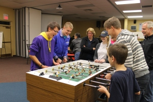 After the meeting, Zach played some fuse ball.