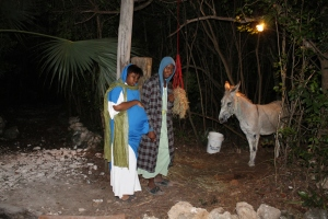 Along the trail, one can see Mary and Joseph and their donkey traveling to Bethlehem to be counted in the census.