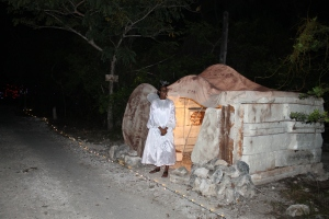 But wait... The angel proclaims from the empty tomb to the travelers, that Jesus is not dead.  He is risen!