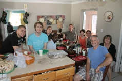 Christmas dinner included our family, Aaron Mills and Pastor Cranston.