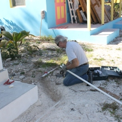 Tim had many broken water lines to the new cottage to repair.