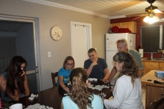 On the 9th, we played Mexican Train Dominoes. This was Josie's last night on the island.