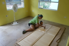 As soon as CCA 8th graders left, work on the new staff cottage went into full gear with painting, staining, cleaning...