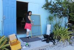 Members of the team helped Faye clean screens...