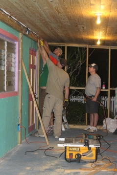 The group worked late into the evening trying to get the project completed.