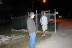 Bob and Pat have the (chilly) job of providing security at the front gate during the Outreach.