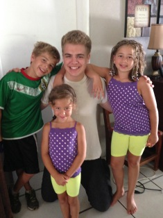 3 of the 6 Weaver children got up early to say good-bye to Zachary.
