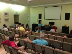 Testimonies from veteran staff during daily devotion time.