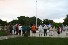 After the cast was dressed, the volunteer cast joined the ALC staff for prayer time around the flag pole