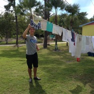 Even the guys have to adjust to how we do laundry (we conserve by hanging clothes to dry instead of using the dryer).