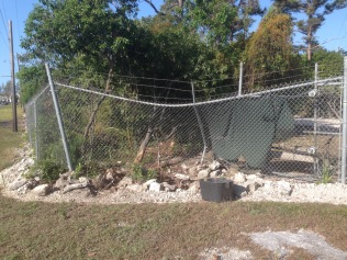 Saturday night accident that no one witnessed. Water main broken, gate and fence damaged.