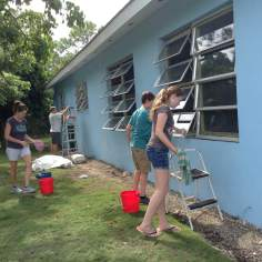 Washing windows at Camp