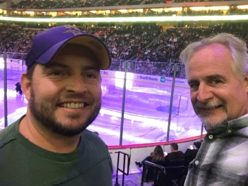 Nathaniel took Tim to a Wild Hockey game